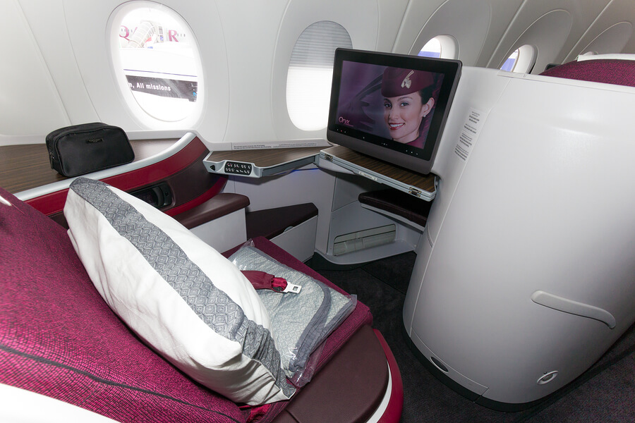 PARIS - JUN 18 2015: First Class seat in a Qatar Airways Airbus A350. Qatar Airways is the first user of the A350 with it's first flight on 15 January 2015.
