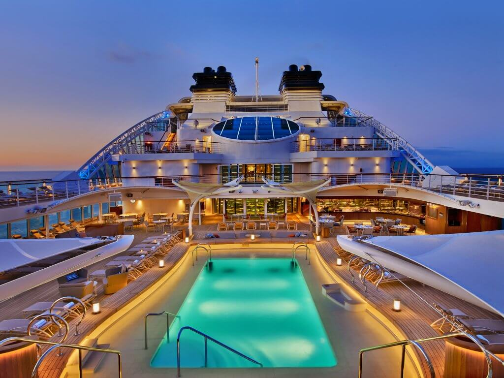 Deck and pool of Seabourn cruise ship.