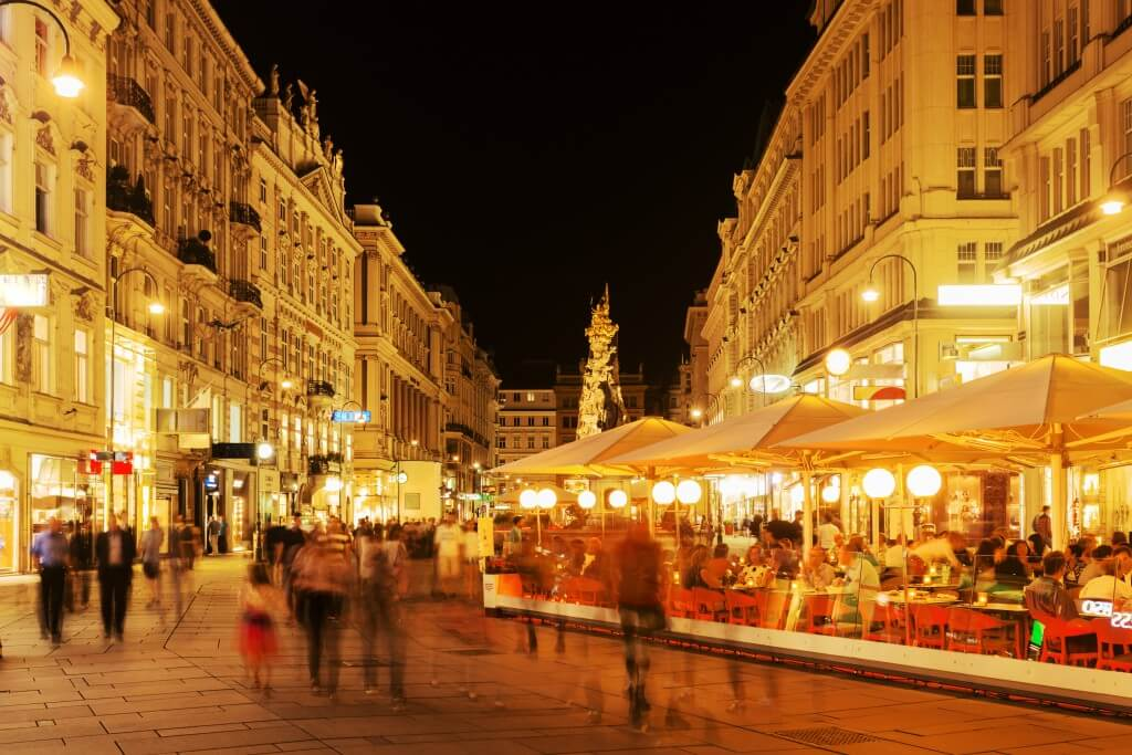 Vienna, Graben at night