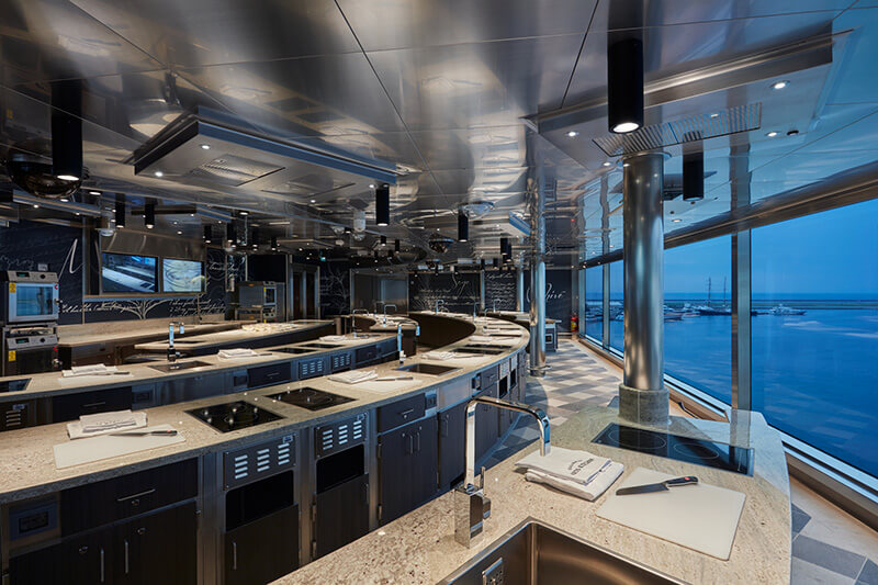 Kitchen on Seven Seas Explorer Cruise Ship
