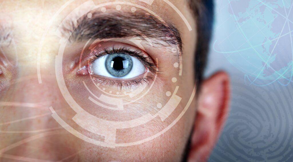 Human eye viewing digital information. Cyber technology concept
