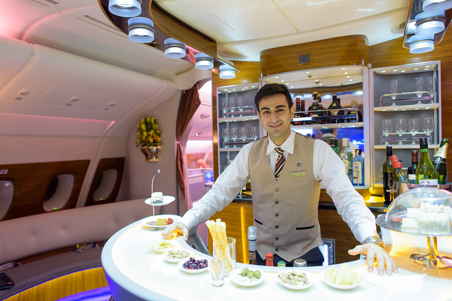 Onboard bar on Emirates A380