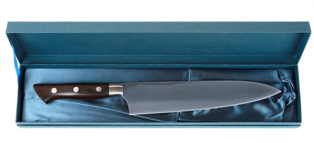 Japanese chef's knife in blue gift box.