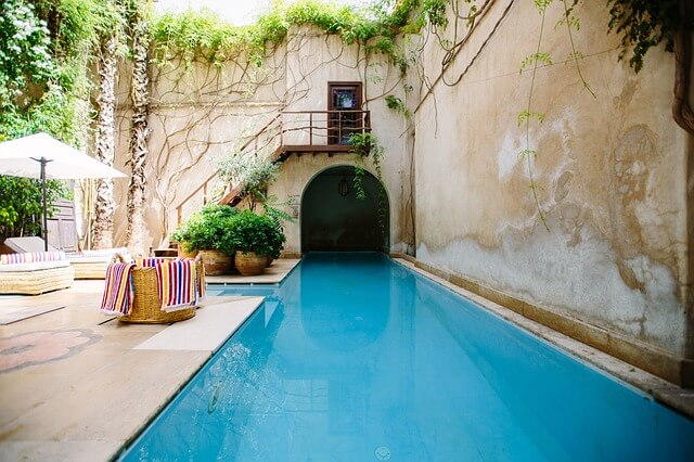 Poolside at a luxury vacation rental property