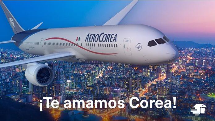 AeroMexico promotion discount on flights to Korea airplane over Seoul