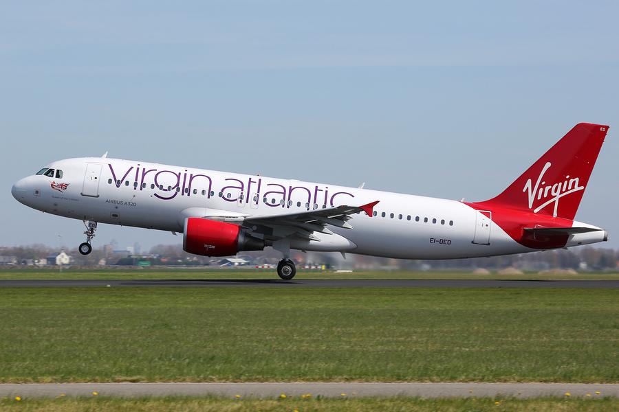 Virgin Atlantic plane taking off from runway