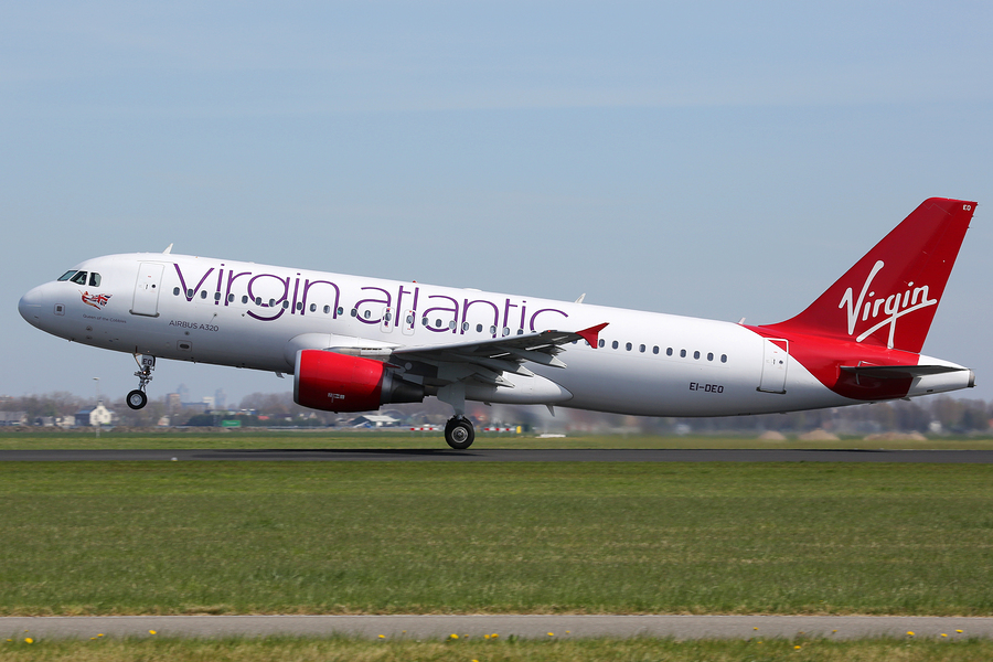 Virgin Atlantic plane taking off from runway