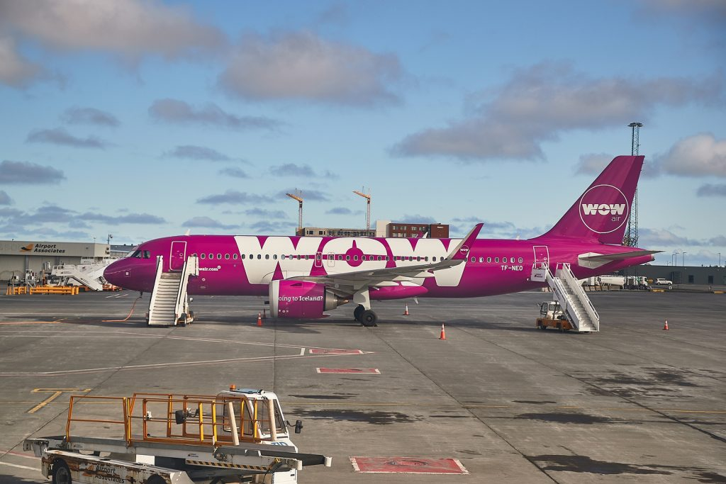 WOW Air plane parked on tarmac